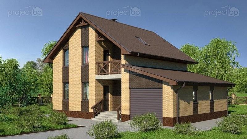 Проект компактного мансардного дома с гаражом A-141